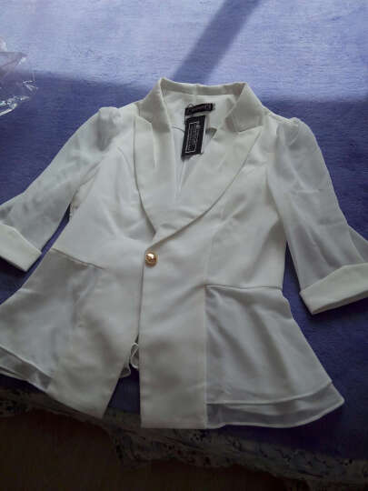 名流都会加大码短袖小西装女2017新款时尚工作职业装 女装套装 黄色单件西装 L (建议98-107斤) 晒单图