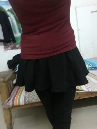 诗菲尼蒂2016韩版秋冬新款修身百搭假两件百褶加绒加厚打底裤女 黑色加绒加厚 晒单图