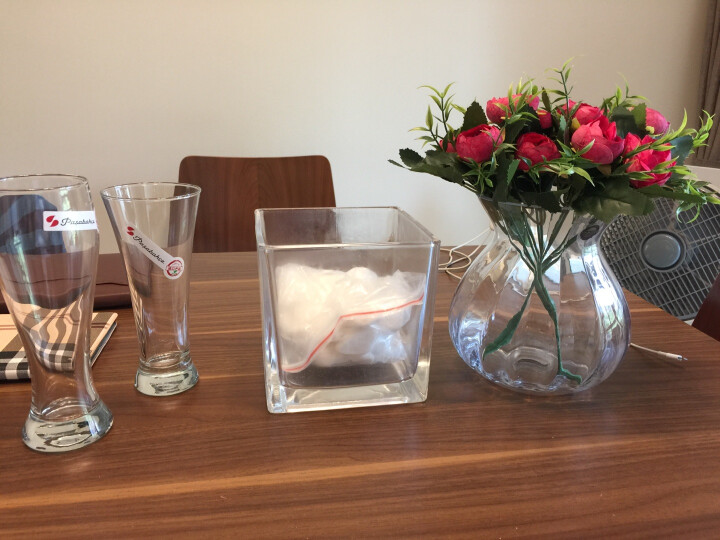 豪斯特丽(HOSTLY) 欧式经典水培巴洛克花瓶 透明玻璃花器客厅卧室餐桌茶几装饰摆件 花瓶+红色玫瑰2束 晒单图