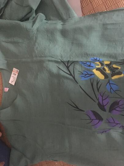 北极绒睡衣女夏季家居服短袖九分裤印花竹节棉中国风绵绸睡衣套装 8041湖蓝 4XL(建议140-160斤以内) 晒单图