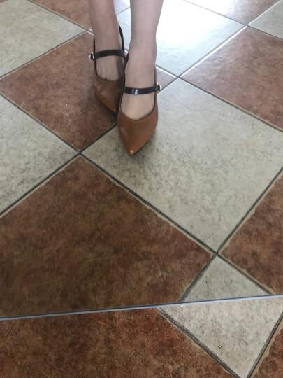 大东单鞋2018春季新款韩版尖头中跟粗跟一字扣浅口女鞋DW18C1628A 棕色 39码 晒单图