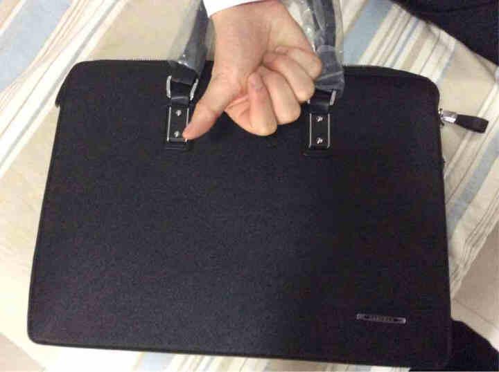 NABOWAN男士商务公文包电脑包单肩斜跨男包手提包 黑色横款 晒单图