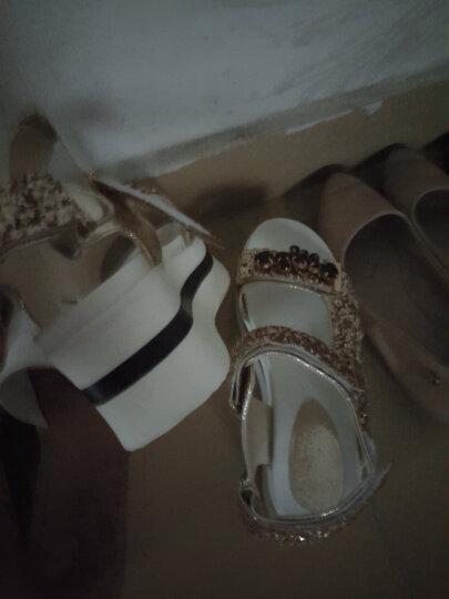 宏鸟2018夏季新款韩版魔术贴凉鞋女夏新款厚底松糕运动罗马鞋亮片水钻学生百搭女鞋 金色 38 晒单图