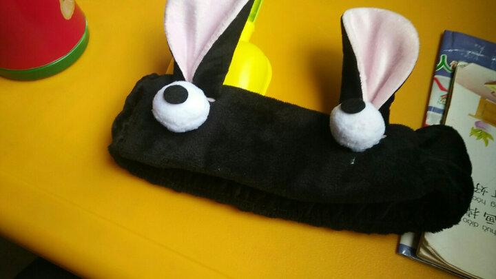 发带 女 韩版 日常佩 束发带化妆发套明星同款猫耳朵可爱粉色饰景甜同款发带束发带兔耳朵洗发箍头带头套 A395-4#兔耳朵黑色 晒单图