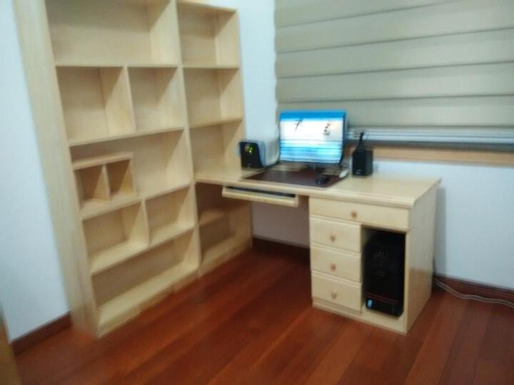 雅霏--台式电脑桌 简易书桌 简易办公桌组合 书柜书架电脑桌 写字台 B+C书柜+主机柜清漆 晒单图