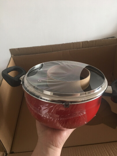 爱仕达 中国红新不粘少油烟三件套装锅 PL03G1RWG 锅具套装含炒锅煎锅汤锅 晒单图