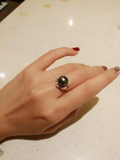珍媄珠宝 925银花瓣黑色珍珠戒指 海水大溪地黑珍珠戒指女款 基本无暇 黑绿9.5-10MM 晒单图