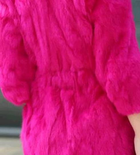 伊世纪 仿皮草女中长款秋冬新款仿海宁獭兔毛外套韩版修身七分袖仿皮草外套 N5198 黑色 L 晒单图