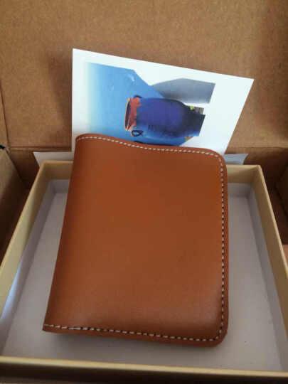 lanspace原创手工钱包 男式学生厚牛皮皮具短款小钱包日系真皮票夹 LW012 浅棕色 晒单图