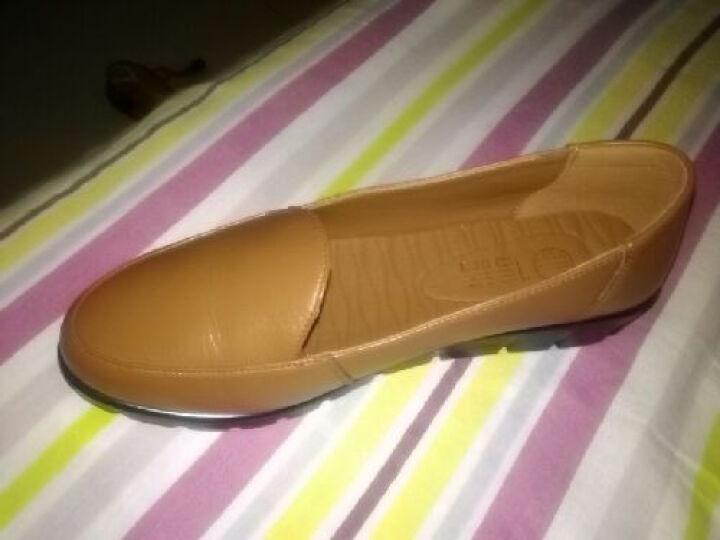 信诺 妈妈鞋真皮软底一脚蹬单鞋新款老人鞋大码女鞋平底皮鞋工作鞋 黄棕 36 晒单图