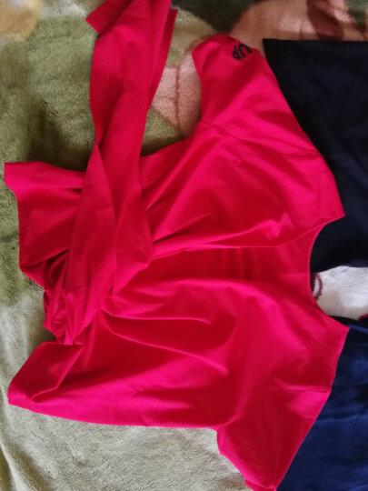 MOCO个性绑带束腰显瘦V字领字母短袖T恤女MA172TEE211 烈焰红色 L 晒单图