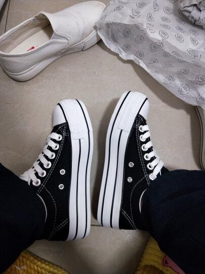 人本帆布鞋女厚底布鞋松糕跟小白鞋牛仔休闲鞋女百搭学生1992鞋子 浅兰 37 晒单图