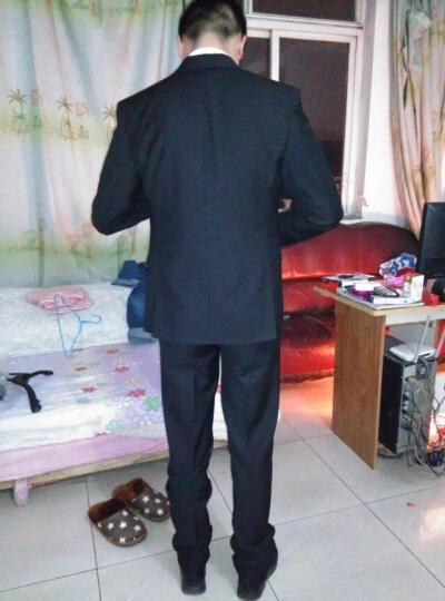 OMAX西服套装男士韩版修身商务休闲三件套职业正装伴郎西装结婚礼服 黑色二扣三件套 170/L西服+西裤+马甲 晒单图