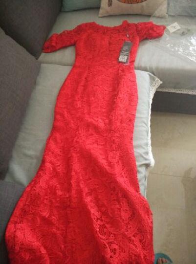 希洛莎(XILUOSHA)主持人礼服裙宴会晚礼服单肩演出服女长款新娘结婚晚装敬酒服鱼尾 玫红色 XXL 晒单图