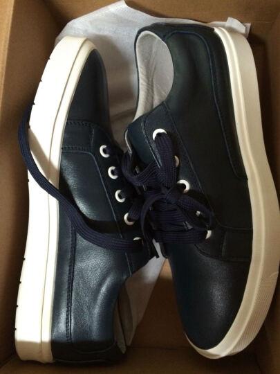 康龙男士板鞋休闲鞋 头层牛皮鞋韩版潮流系带流行男鞋子 蓝色253113505 42 晒单图
