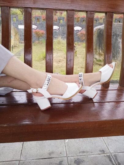 新漪 凉鞋2018夏季新款女鞋粗跟中跟韩版漆皮水钻鱼嘴女凉鞋子 白色 40 晒单图