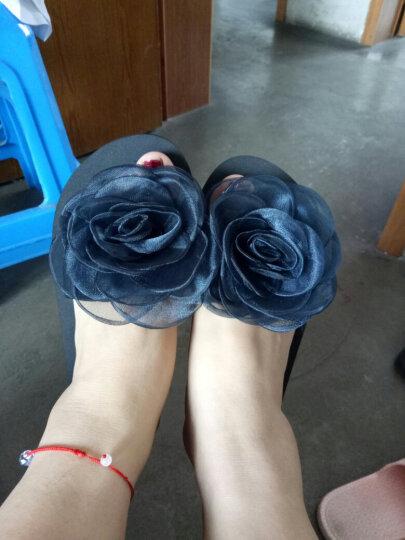 拖鞋女夏季新款百搭外穿一字拖平底韩版时尚凉拖鞋防滑休闲沙滩鞋 7104W高跟黑底蓝色 35 晒单图