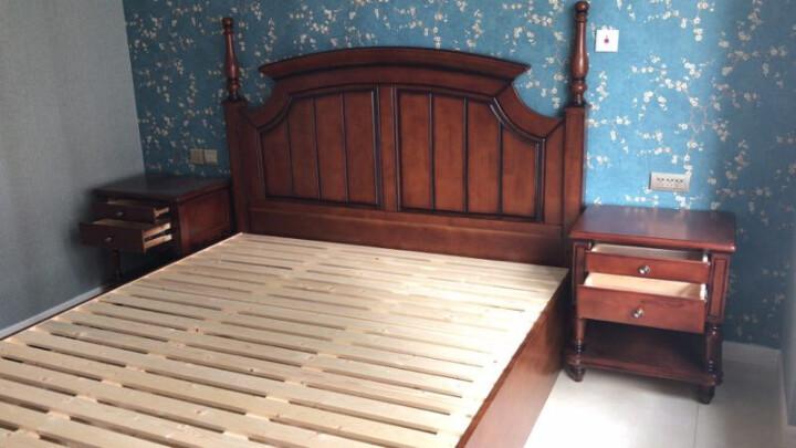 路飞小子 902#实木美式乡村床 欧式床 橡胶木双人床1.8米高箱储物床卧室家具 胡桃木色 床+2个床头柜+22CM弹簧床垫 1800mm*2000mm (框架款) 晒单图