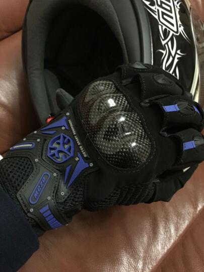 SCOYCO赛羽 摩托车越野车赛车碳纤手套 摩旅骑行手套 夏季清凉透气防护手套 MC20 蓝色 L 晒单图