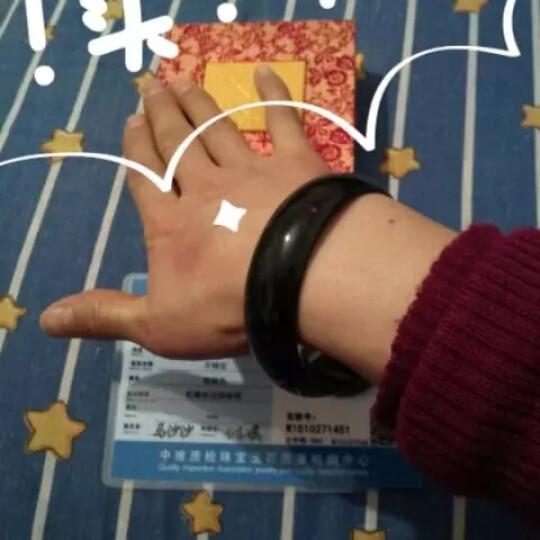 鸿涛珠宝 玉镯女 天然蓝田玉墨玉手镯玉石玉镯子 蛇纹石玉 加宽加厚版 60-61mm 晒单图