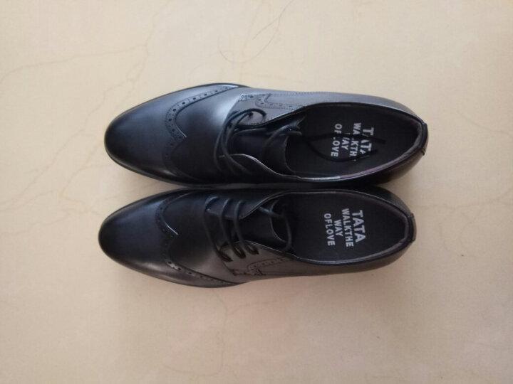 Tata/他她男鞋专柜同款雕花打蜡牛皮低帮系带布洛克商务正装皮鞋男 婚鞋 F6N21CM6 黑色 42 晒单图