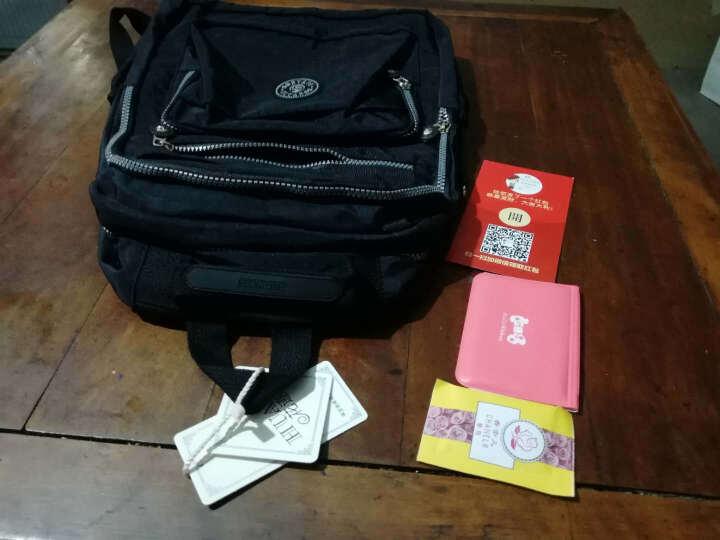 花迹(HUAJI)新款水洗尼龙布料双肩包时尚休闲多层口袋旅行背包 小号学生书包 蓝色 晒单图