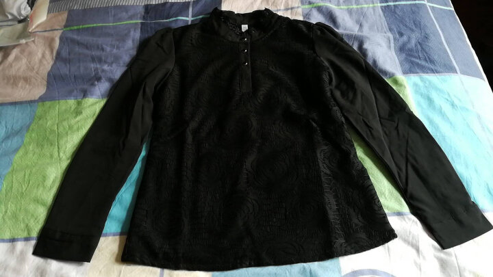 盾越 衬衫女长袖2018春季新款加厚上衣黑色蕾丝打底衫女保暖加绒高领百搭雪纺衫衬 黑色 不加绒 XXL(建议126-135斤穿着) 晒单图