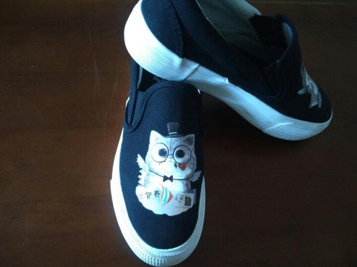 艾米与麦麦春季韩版二次元鞋子百搭潮流卡通印花帆布鞋女学生厚底一脚蹬小白鞋舒适套脚懒人鞋低帮无系带板鞋 白色.天使恶魔猫 36码 晒单图