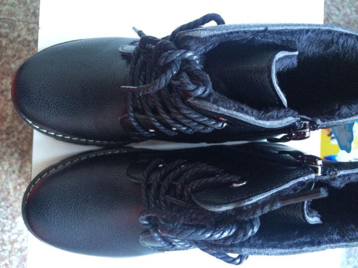 巴布豆(BOBDOG) 巴布豆童鞋男童靴子加绒保暖儿童短靴时尚男童马丁靴皮靴冬款 152二棉黑色 31码/20.0cm 晒单图