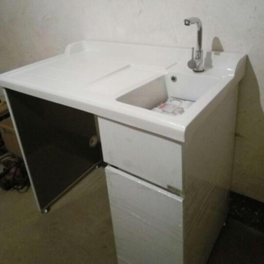 万湖(WANHU) 万湖 不锈钢阳台滚筒洗衣机柜 带搓衣板浴室柜组合 1.0米-白色-左盆 晒单图