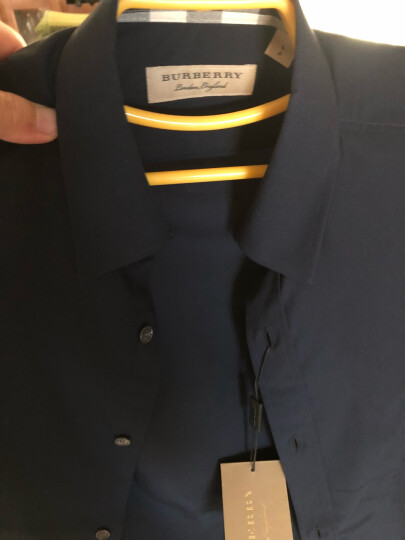 BURBERRY 巴宝莉 男士海军蓝弹力棉府绸长袖衬衫 39911571 S码 180/92A 晒单图