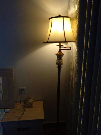【登对】美式摇臂落地灯客厅书房简约现代欧式创意手绘书房卧室床头阅读立式LED台灯灯具 古铜色 脚踏开关【6w暖光LED】 仿丝布 晒单图