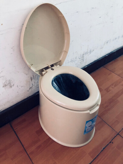 雷边是也移动马桶加厚孕妇老人坐便器马桶应急简易马桶便携式 米色 晒单图