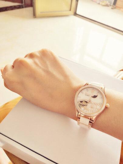 【视频看货】尼尚(Nesun)女士手表 女全自动机械钟表荷塘月色镂空女表 陶瓷手表时尚女式腕表 石英表钢色白面LS9072-GBG 晒单图