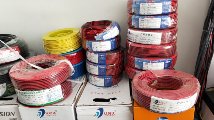 安润达(ANRUNDA) RVB纯铜2芯电源线无氧铜监控电源线led电线电缆红黑平行线 铜包铝2芯1.0红黑线 100米 晒单图