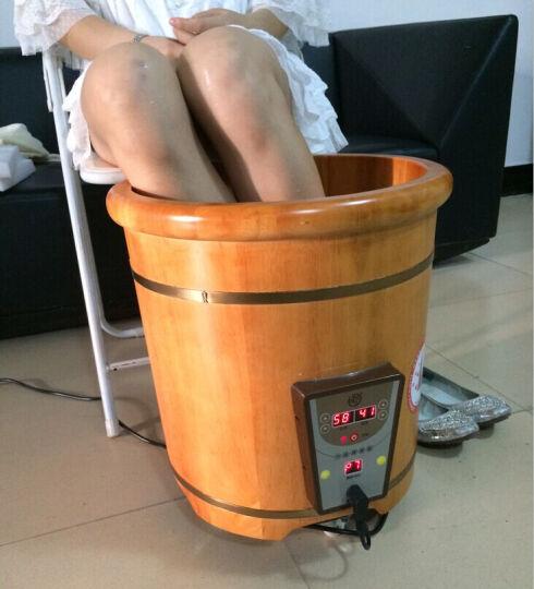 悦己坊 木桶泡脚桶40CM橡木恒温加热足疗桶足浴盆洗脚桶养生桶 半盖 晒单图