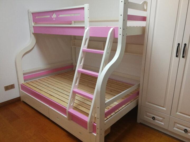 童梦 全实木爬梯高低床 实木儿童床爬梯款全实木子母床上下床 粉白色(配书架和床体双抽) 上1米下1.35米 晒单图