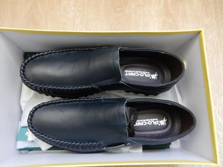 保罗盖帝(PLO-CART)商务休闲男皮鞋男士手工新款懒人豆豆鞋子男套脚轻盈软皮鞋 蓝色 41 晒单图