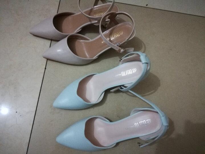 大东单鞋2018春季新款韩版高跟细跟一字扣女鞋DW18C1300A 青蓝色 38码 晒单图