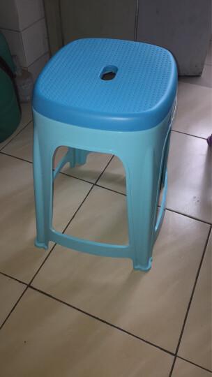 健安凳子 塑料休闲凳加厚板凳防滑圆凳成人椅子高方凳带提手蓝色0845 晒单图