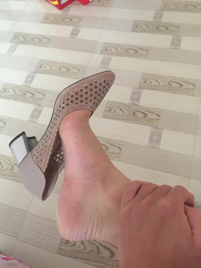 牧言女鞋 新品春季大码圆头粗跟中年中跟单鞋女士休闲工作鞋 妈妈鞋 233-1  红色 37 晒单图