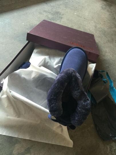希丝达丽2017冬季新款雪地靴女靴时尚厚底防滑短靴保暖短筒平底棉靴女鞋4933 蓝色 39 晒单图