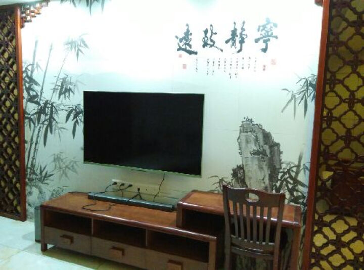 雄派陶瓷 客厅电视背景墙  现代中式瓷砖背景墙玄关拼画仿古砖瓷贴 宁静致远 精雕+幻彩/0.1平方米 600*600 晒单图