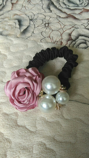 父爱饰品 时尚大花朵珍珠发圈皮筋发绳发饰 百搭扎头发头绳头饰 粉色 晒单图