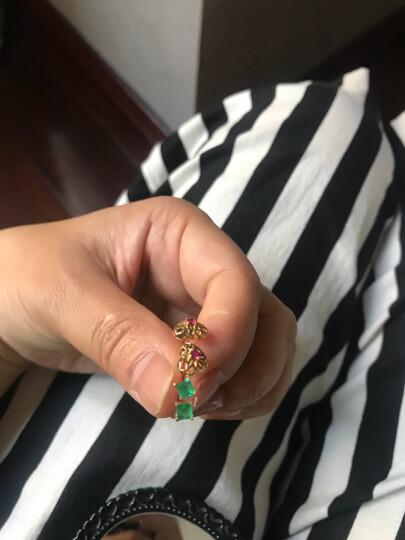 【中秋节礼物】    阿梵尼 黄18K金祖母绿耳钉女宝石耳饰方形时尚送爱人情人节礼物送女友 祖母绿耳钉一对 晒单图