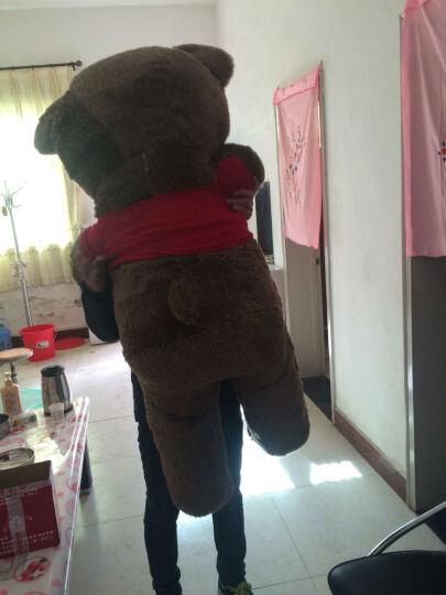 蒙格格毛绒玩具熊大号泰迪熊公仔抱枕布娃娃生日礼物女生 深棕红红白条衣服 1.6米 晒单图