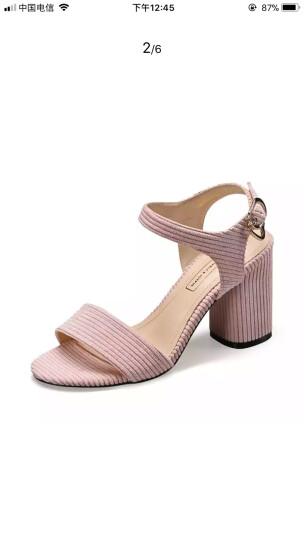 卓诗尼凉鞋女2018夏季新款反绒露趾粗跟时装鞋日常休闲通勤风女鞋J94720182 灰色 35 晒单图