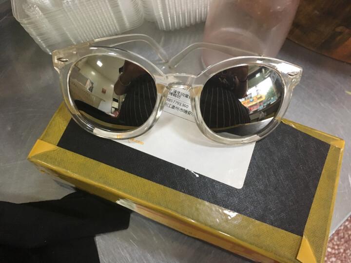 名客(Mincl)透明框箭头款墨镜女潮款太阳镜复古圆太阳眼镜同款28050 亮黑框冰蓝片 晒单图