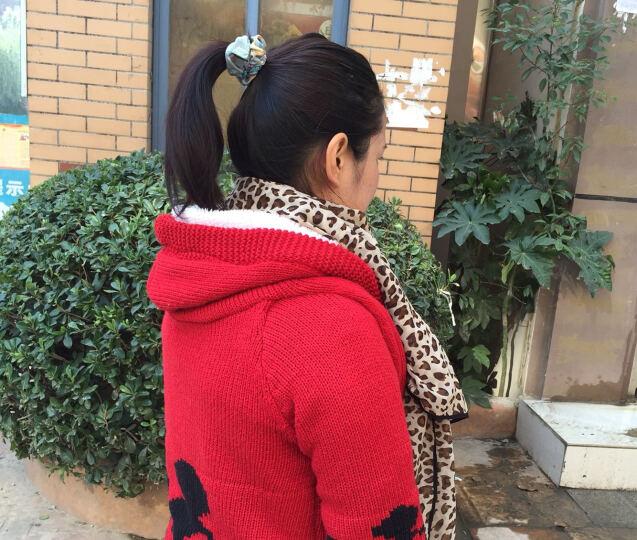 NIYANGE妮妍阁 品牌女装韩版 宽松大码大衣中长款带帽米奇加绒加厚毛衣针织 外套 女 红色 均码 晒单图