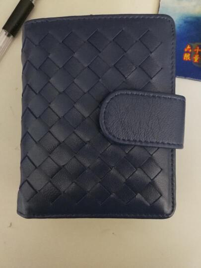夏茉欧美风格 小羊皮手工编织女士短款钱包手拿包手包 日韩风格真皮横款钱夹皮夹学生手包零钱包 B2-深蓝色 晒单图